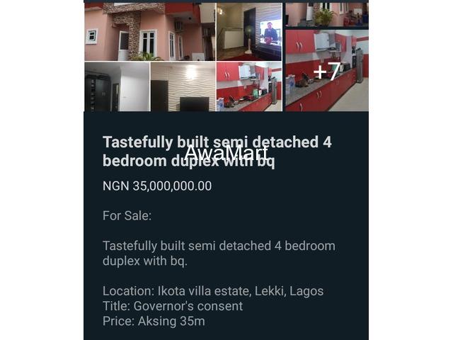 SELLING NOW - Tastefully Built Semi Detached 4 Bedroom Duplex with BQ at Ikota Villa Estate, Lekki  - 1