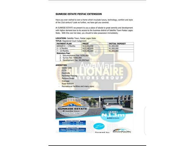 Buy Your Plot of Land at Sunrise Estate, Satellite Town, Festac  - 1